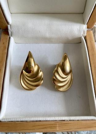 Винтажные серьги золотистые американская винтажная бижутерия