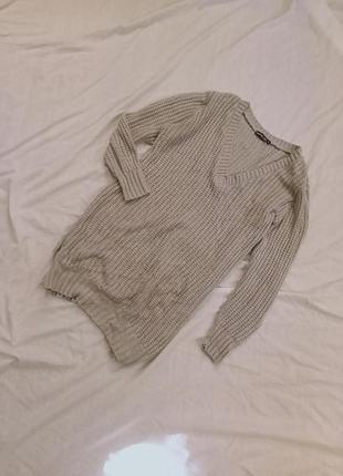 Серое платье свитер вязаное