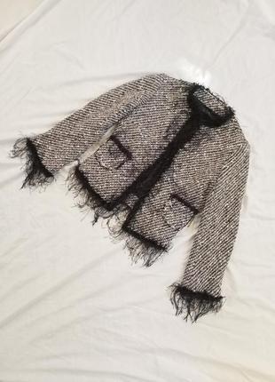 Твидовый пиджак жакет от зара пушистый