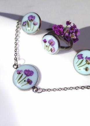 Набор украшений из эпоксидной смолы, браслет, сережки, серьги, кольцо