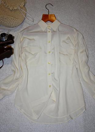 Шелковая рубашка молочного цвета . шикарная рубашка apart