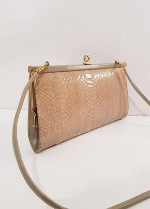 Роскошная винтажная сумка#редикюль#клатч англия натуральная кожа змеи nude