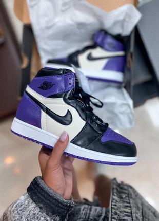 Кроссовки кеды nike air jordan 1 high violet black кросівки кеди