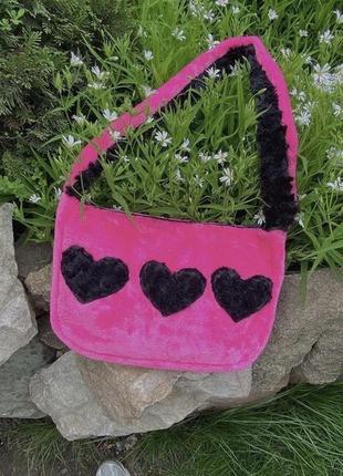 Сумка багет сумка шоппер пушистая мягкая плюшевая сумка с сердечками