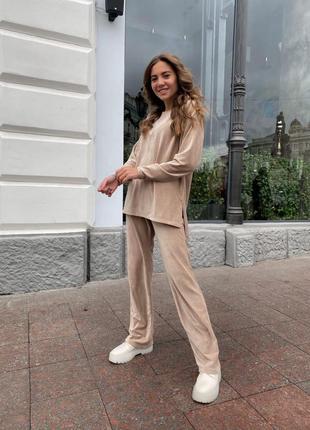 Спортивный костюм из велюра рубчик штаны прямые и удлиненная кофта ря