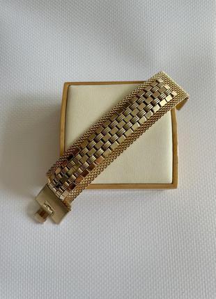 Винтажный браслет золотистый американская винтажная бижутерия