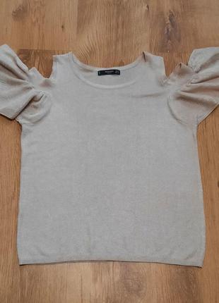 Блуза кофта с рюшами люрекс mango размер xs-s