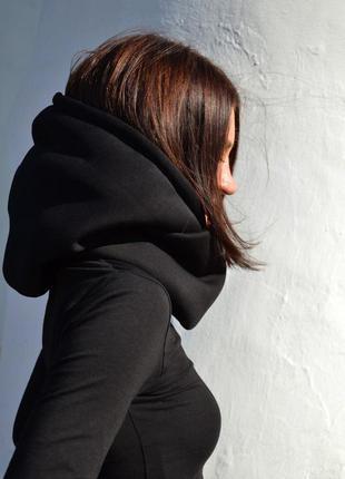 Черный теплый хлопковый капюшон-снуд