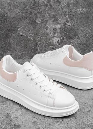 👞 кросівки ідеал маквін білі бежева вставка