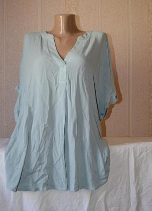Новая вискозная блуза батал оверсайз светло зеленая мятная primark 16/xxl , xl