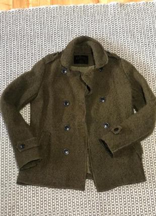 Тёплый оригинальный пиджак-пальто