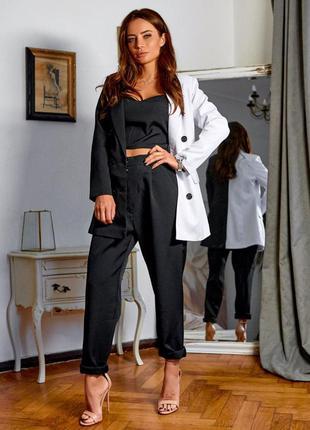 Костюм тройка женский классический, топ, белый с черным пиджак, черные брюки, с, м, л, 44, 46, 48