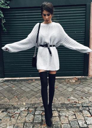 Серый удлиненный свитер туника