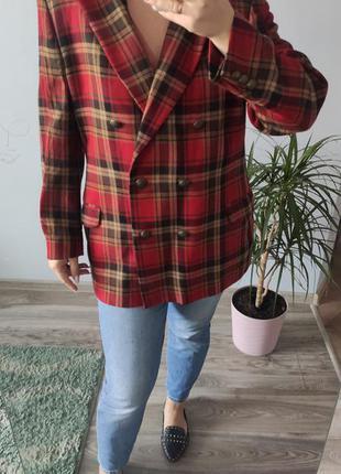 Стильний подовжений піджак шерстяний жакет в клітинку блейзер