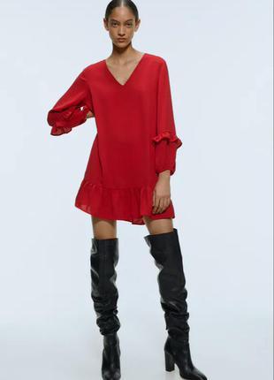 Красное платье zara р м-l