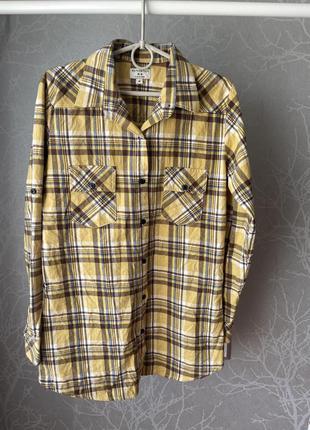 Тренд тёплая рубашка в клетку фланель