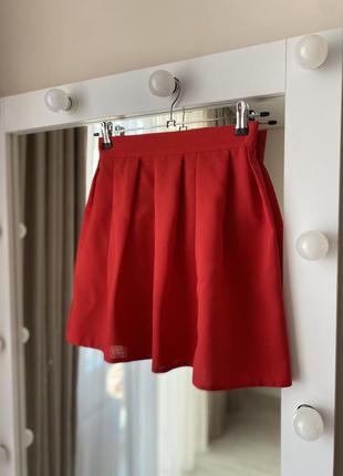 Красная юбка мини клёш колокольчик