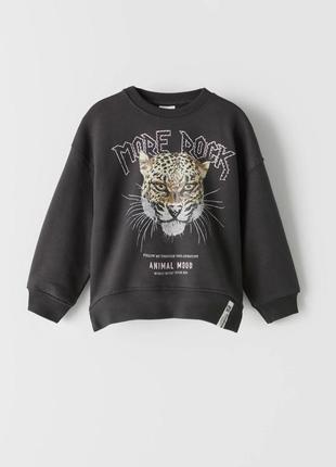 Zara чёрный свитшот для девочки с рисунком леопарда 8 лет