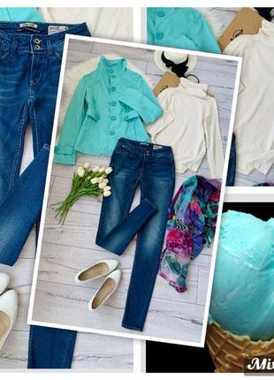 Комплект четыре вещи р s-m.36-38 переходящий джинсы италия мятный тренч шарф и гольф
