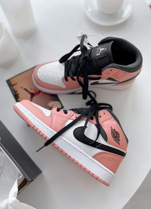 Кроссовки кеды nike air jordan 1 retro mid pink quartz  кросівки кеди