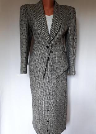 Винтажный шерстяной костюм юбка+пиджак lutz teutlof f(размер 38)f