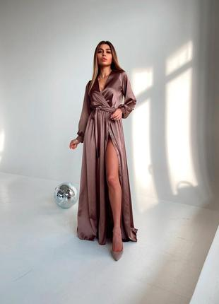 Шелковое платье макси с запахом