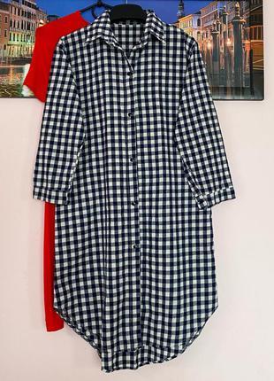Добротное платье в клетку , плаття рубашка