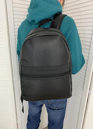 Городской черный рюкзак tommy hilfiger, мужской классический портфель томми хилфигер