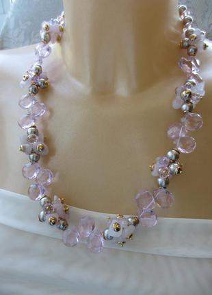 Изящное ожерелье с чешскими хрустальными гранеными бусинами и розовым кварцем 57 см, вес 101 г