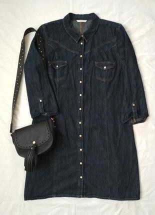 Джинсовое платье рубашка темный деним camaieu