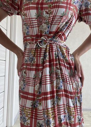 Летнее платье mango с объёмными рукавами