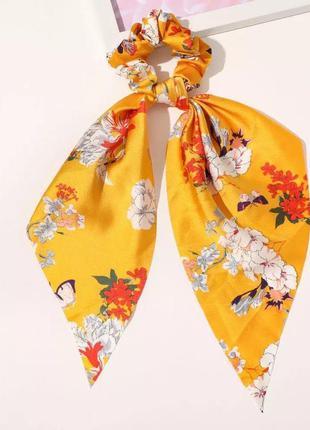 Резинка-платок оранжево-желтая яркая с цветами тренд лета 2021 / большая распродажа!
