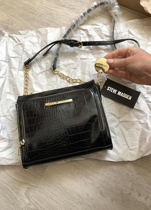 Новая сумка 🐊 croco брендовая cross body оригинал steve madden через плечо с бирками