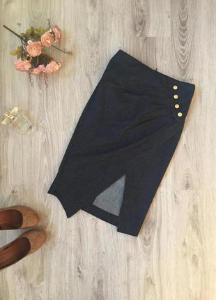 Асимметричная джинсовая юбка миди