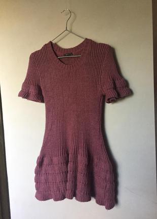 Вязанное тёплое шерстяное платье туника мягкое