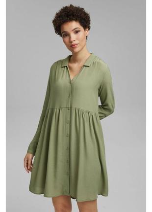 Оливковое платье с карманами zara h&m esprit