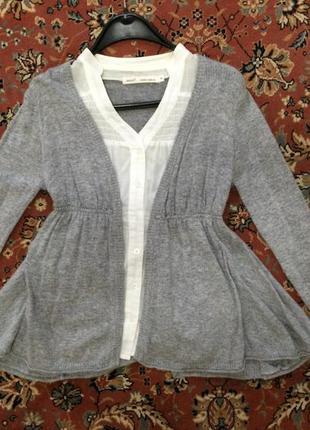 Тёплая кофта с имитацией блузы next размер s