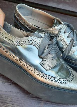 Кожаные ботинки туфли лоферы 37