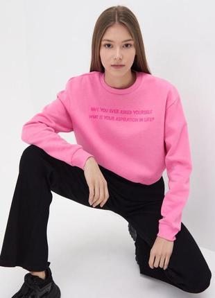 Женский розовый оверсайз реглан на флисе sinsay размер м-л