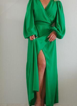 Шикарное длинное платье с обьемными рукавами next