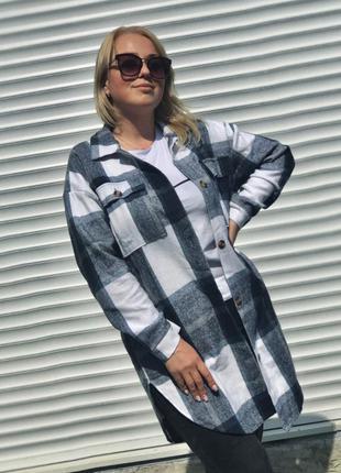 Удлинённая женская рубашка из кашемира клетка