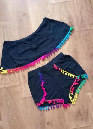 Яркий костюм boohoo пляжный, шорты и топ размер 44-46, размер 10