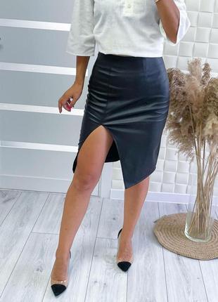 🔥 кожаная облегающая юбка - карандаш мини с разрезом ( из эко кожи )