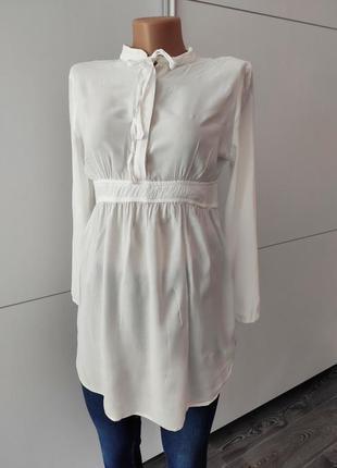 Рубашка блуза белая удлиненная свободного кроя вискоза gap maternity s