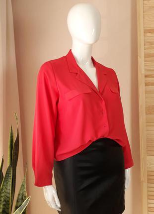 Рубашка с лацканами розовая с длинным рукавом