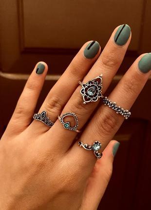 Набор колец 5 штук голубой камень цветы / большая распродажа!