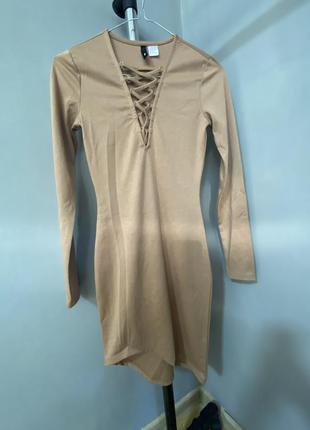Бежевое платье с ассиметричным низом xxs-xs