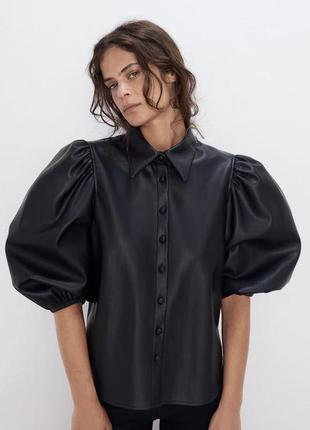 Стильная,трендовая, кожаная рубашка с объемными рукавами only !