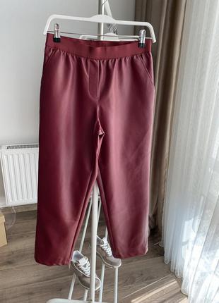 Кожаные бордовые штаны размер 34
