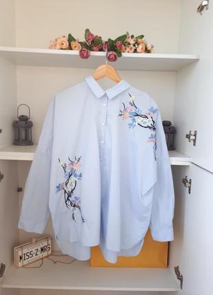 Новая хлопковая рубашка с вышивкой.